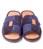 Pair of blue textile slippers on white background closeup.  royalty free stock images