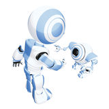 Pair of blue & white robots. A pair of blue and white robots on an isolated background Stock Image