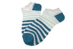 Pair Blue and White Striped Ladies Socks Royalty Free Stock Photo