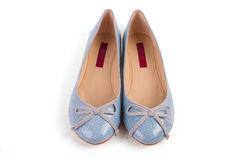 Pair of blue woman shoes Stock Images