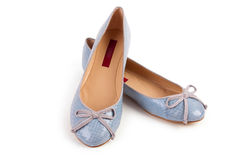 Pair of blue woman shoes Royalty Free Stock Photos
