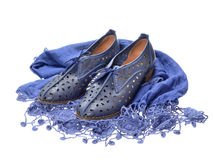 Pair of blue  women shoes Royalty Free Stock Image