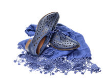 Pair of blue  women shoes Stock Photo