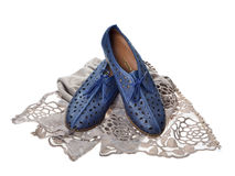Pair of blue  women shoes Royalty Free Stock Photo