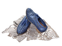Pair of blue  women shoes Stock Images