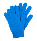 Pair of blue woolen gloves isolated on white Stock Photo