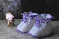 Pair of  bootees for newborn Stock Photography