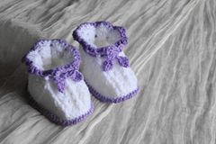 Pair of  bootees for newborn Royalty Free Stock Images