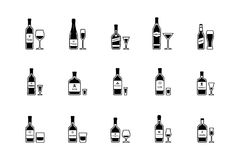 Pair of bottle and glass of alcoholic beverages, black and white icons. Vector Stock Photography