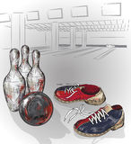Pair of bowling shoes and bowling ball Royalty Free Stock Photography