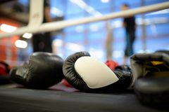Pair of boxing black gloves Royalty Free Stock Photo