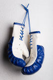 Pair of boxing gloves. Pair of new boxing gloves hanging on a wall Stock Photography