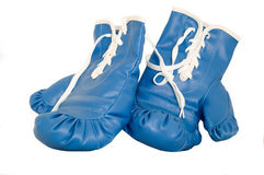 Pair of boxing gloves. A pair of blue used boxing gloves royalty free stock images