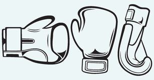 Pair boxing gloves. Isolated on blue background Stock Photos