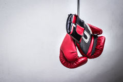Pair of boxing gloves photograph. Photograph of a pair of red boxing gloves Stock Images