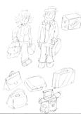 Pair of boys leaving with suitcases,sketches and pencil sketches and doodles Stock Image