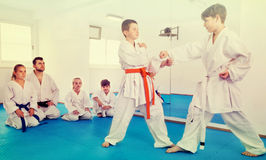 Pair of boys practicing new karate moves Stock Images