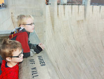 A Pair of Boys View Hoover Dam. Clark County, Nevada - December 29: Hoover Dam on December 29, 2013, in Clark County, Nevada. A pair of boys gaze out from the Royalty Free Stock Photo