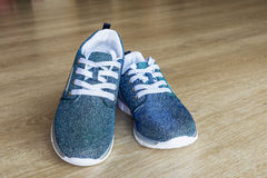 Pair of bright blue shoes for girl Royalty Free Stock Photography