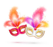 Pair of bright carnival masks with colorful Royalty Free Stock Photo