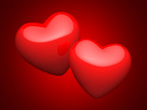 Pair of bright red hearts Royalty Free Stock Photos