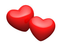 Pair of bright red hearts Stock Image