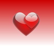Pair of bright red hearts Stock Photos