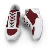 Pair of bright sport shoes on white. Front view. 3D illustration Stock Photography
