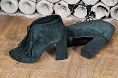 Pair of bright suede shoe with high heels. Sexy women's shoes. Stock Photography