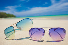 Pair of bright sunglasses on tropical Thailand Royalty Free Stock Images