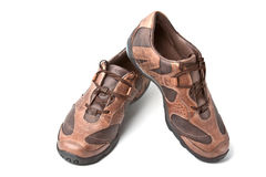 Pair of brown athletic shoes Royalty Free Stock Photo