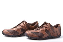 Pair of brown athletic shoes Stock Image