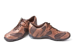Pair of brown athletic shoes Royalty Free Stock Images