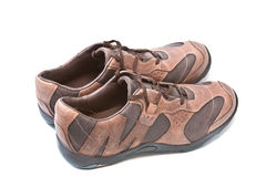 Pair of brown athletic shoes Stock Photo