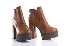 Pair of brown autumn boots Royalty Free Stock Image