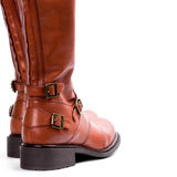 Pair of brown boots. Closeup on whire background stock image