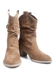Pair of brown female boots Stock Images
