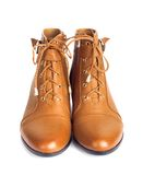 Pair of brown female boots isolated Royalty Free Stock Images