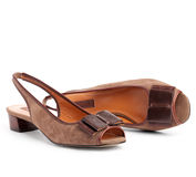 Pair of brown female shoes Royalty Free Stock Photos