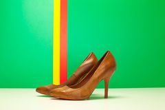 Pair of brown high heels Stock Images