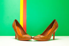 Pair of brown high heels Royalty Free Stock Images