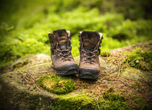 A pair of brown hiking boots Stock Images