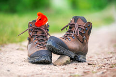 A pair of brown hiking boots Royalty Free Stock Images