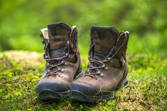 A pair of brown hiking boots Royalty Free Stock Photo
