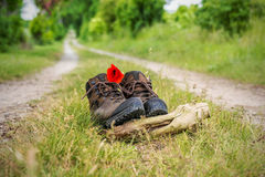 A pair of brown hiking boots Stock Image