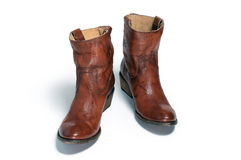 Pair of brown leather cowboy boots Royalty Free Stock Photo