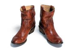 Pair of brown leather cowboy boots Royalty Free Stock Photos