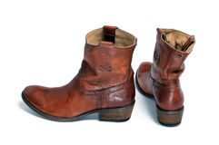 Pair of brown leather cowboy boots Royalty Free Stock Photography