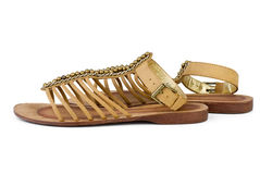 Pair of brown leather female sandals Stock Image