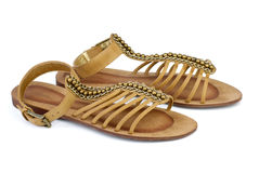 Pair of brown leather female sandals Royalty Free Stock Image